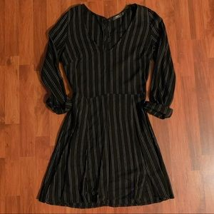 Black Obey Dress With White Stripes